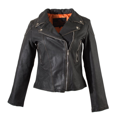 Ladies Black Distressed Leather Biker Jacket