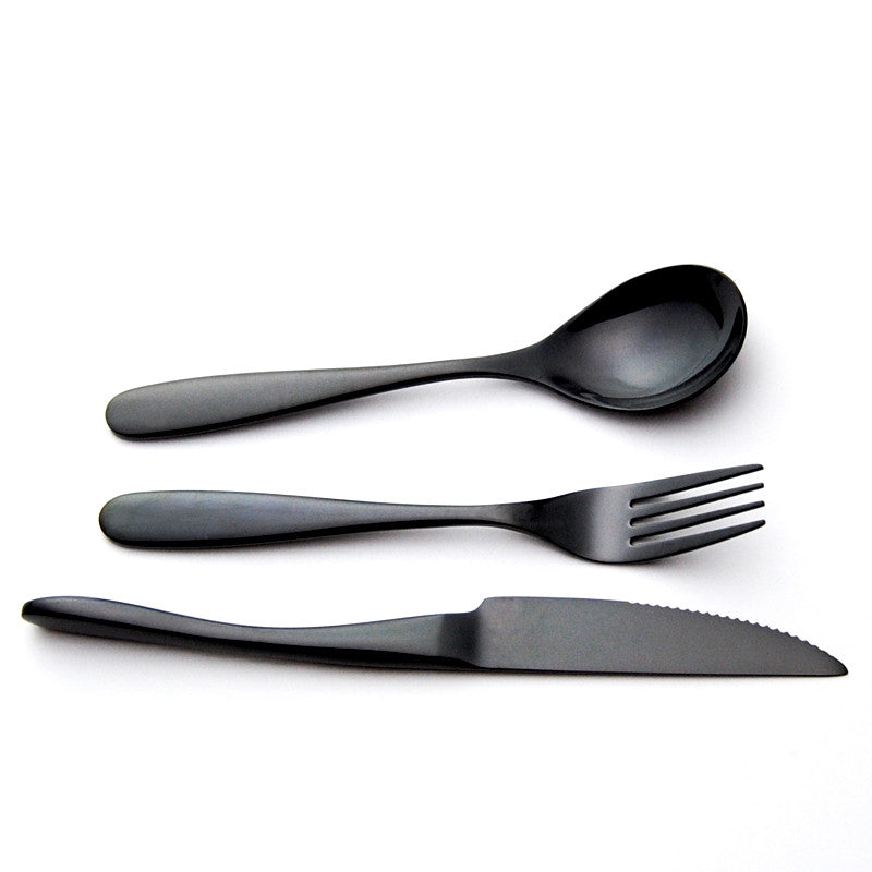 Sucre et Coton™ GuyBlack™ - Premium Stainless Steel Black Silverware Set (3 / 6 / 12 / 18 Pieces)