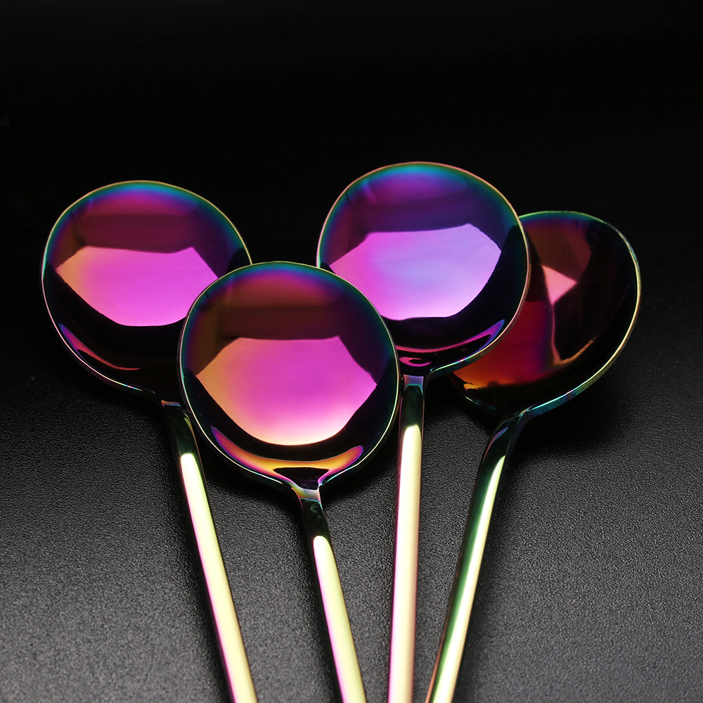 TeaRainbow™ - Premium Stainless Steel Rainbow Tea, Coffee or Ice Cream Set (4 / 6 Pieces)
