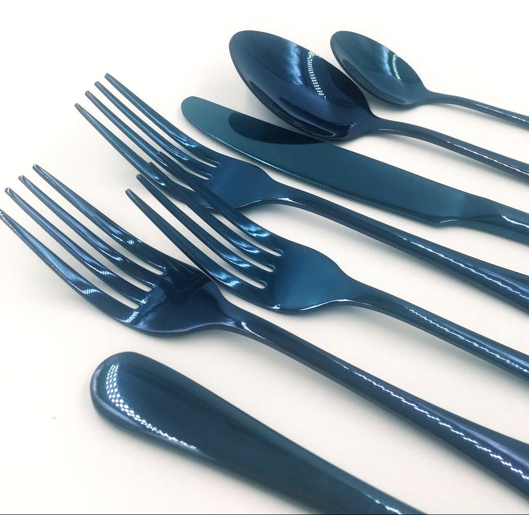 Ocean™ - Premium Stainless Steel Blue Silverware Set