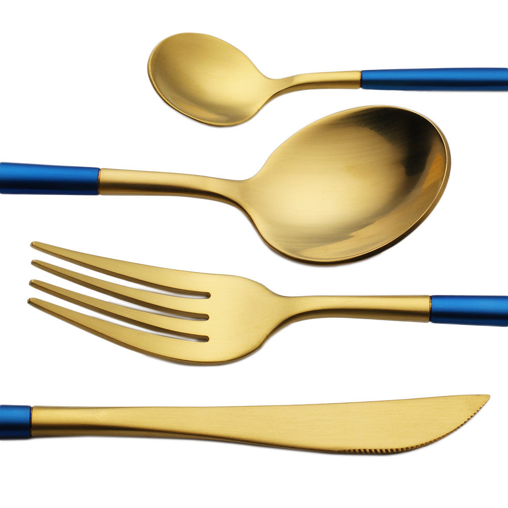 SpaceBlue™ - Premium Stainless Steel 18/10 Silverware Set (8 / 16 / 24 Pieces)
