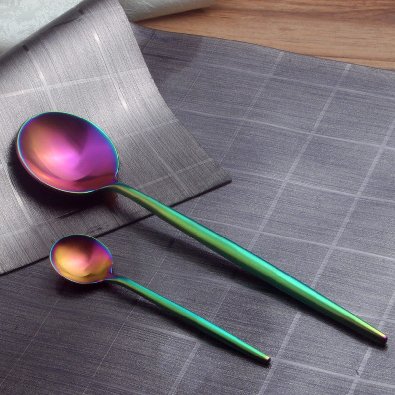 SpaceRainbow™ - Premium Stainless Steel Rainbow 18/10 Silverware Set (8 / 16 / 24 Pieces)