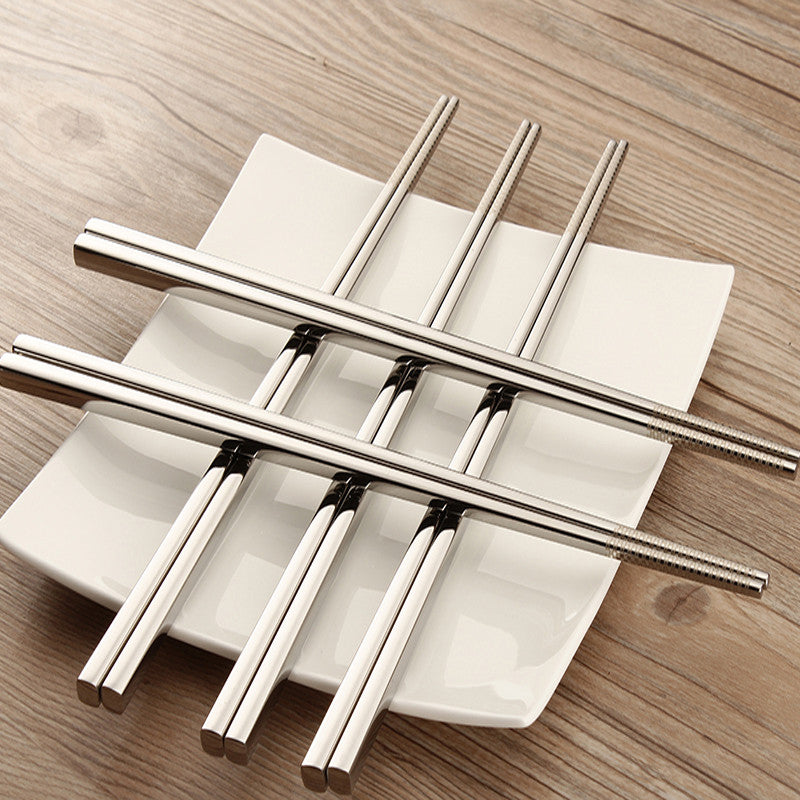 JumpChop™ Premium Stainless Steel chopsticks set Korean Household 10 Pieces (5 pairs)