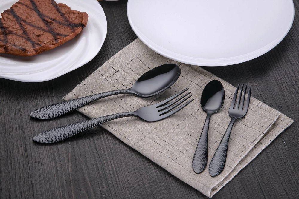 MatteBlack+™ - Stainless Steel Matte Black Silverware Set - Cutlery & Flatware