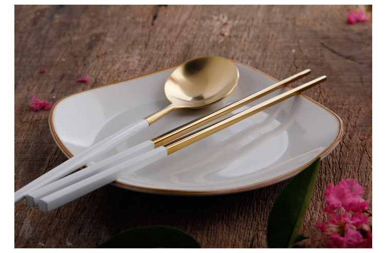 SpaceChop™ - Premium Chopsticks and Spoon Set 18/10 Stainless Steel  (1 pair + 1 Spoon)
