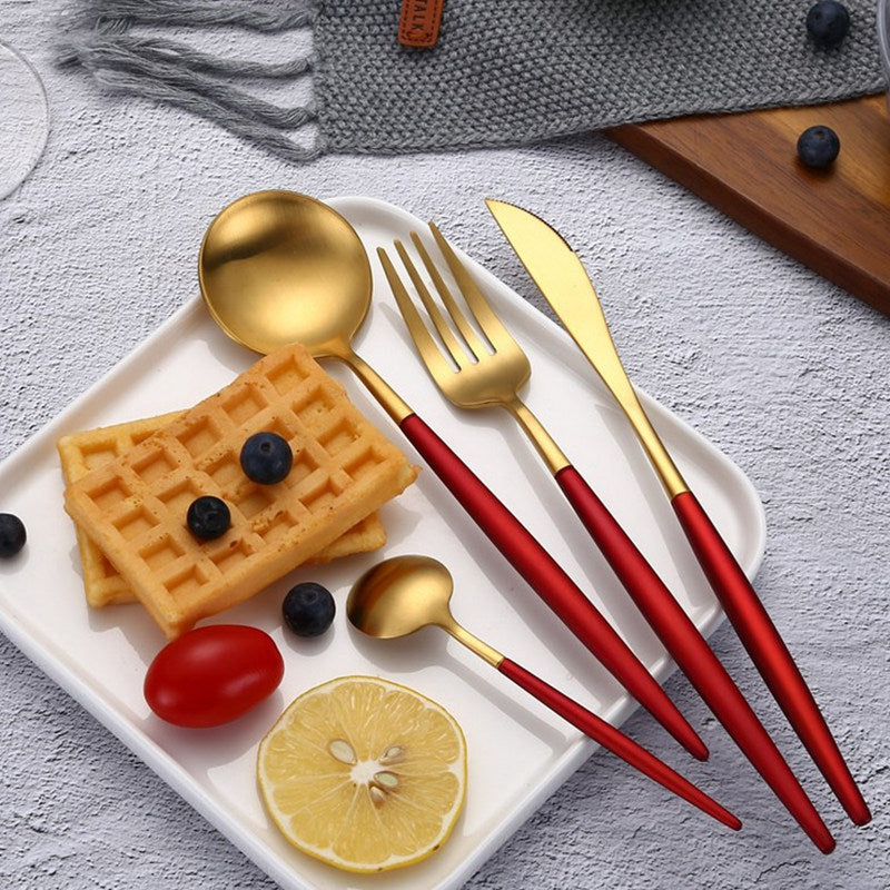 Passion™ - Premium Red and Gold Stainless Steel 18/10 Silverware Set