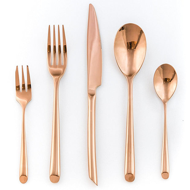 SideRose+™ - Premium Stainless Steel Rose Gold Silverware Set (5 / 10 / 20 / 30 Pieces)