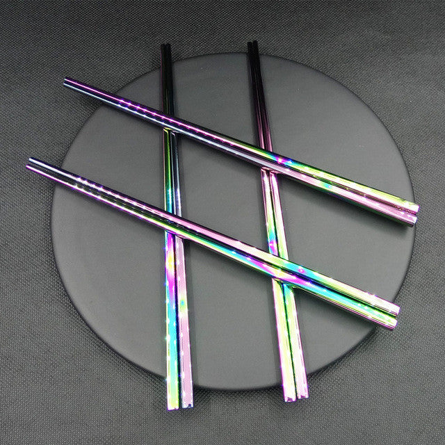 ChopRainbow™ - Premium Stainless Steel Rainbow 18/10 Chopstick Pair