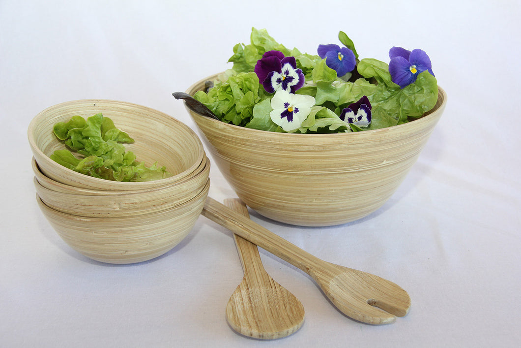 bamboo wooden salad bowl sets