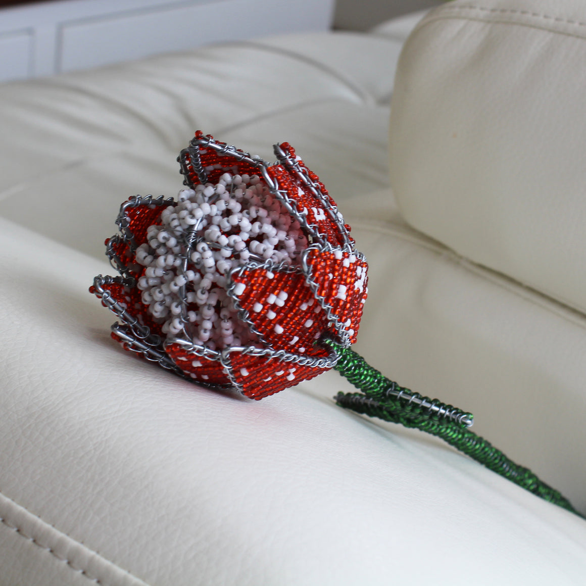 Beaded Protea with Beaded Stem