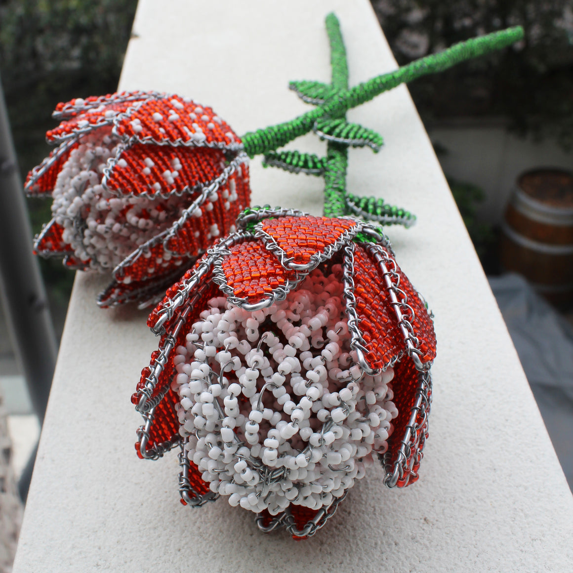 Beaded Waratah with Beaded Stem