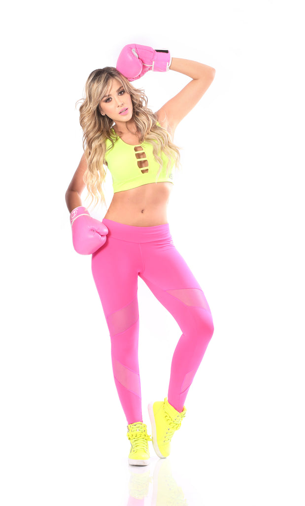 Coral Neon Mesh & Pieces Legging