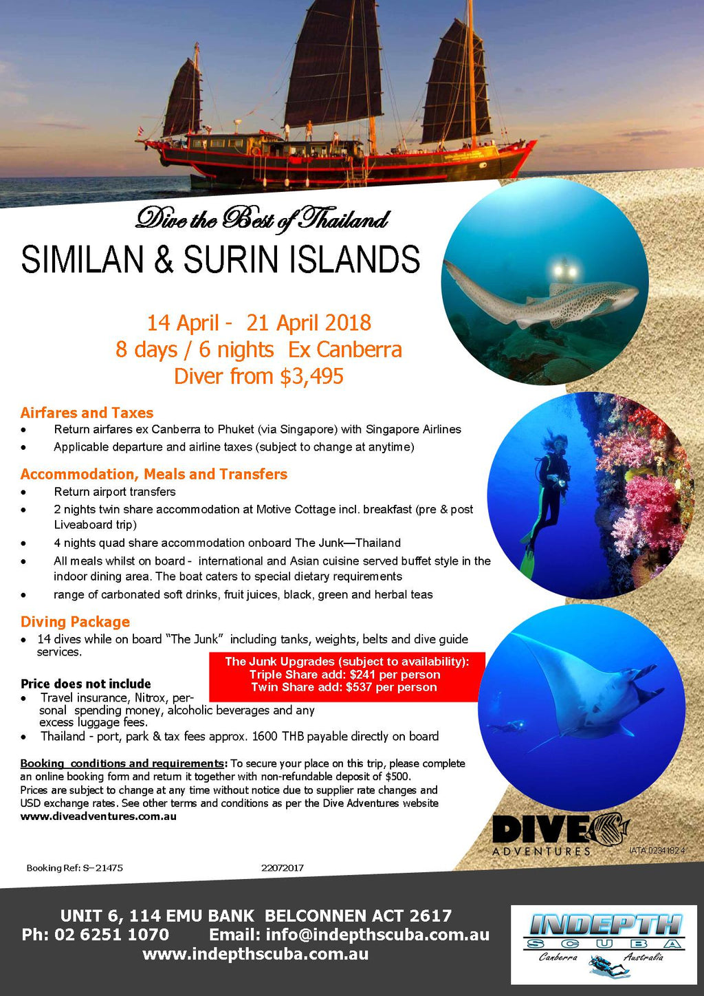 Dive the best of Thailand - The Similan & Surin islands - 14th April to 21st April 2018