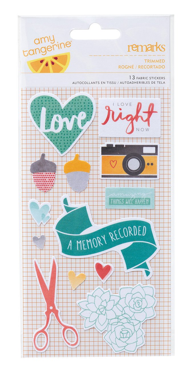 Fabric Stickers - Amy Tangerine, Stitched, Remarks Trimmed - KEY Handmade