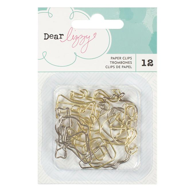 Embellishments - Dear Lizzy, Happy Place, Shaped Paperclips - KEY Handmade