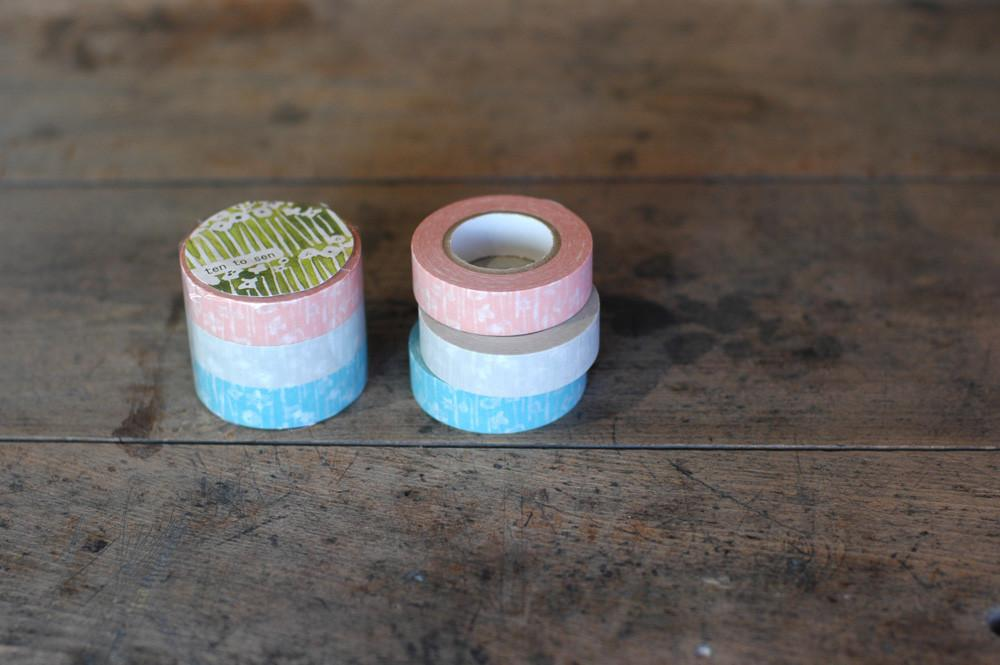 Masking Tape - Classiky, Small Flower, 15mm x 15m, Set of 3 Rolls - KEY Handmade  - 1