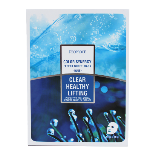 DEOPROCE Color Synergy Effect Sheet Mask - Blue (Hydrolyzed Collagen & Seaweed Complex Extract)
