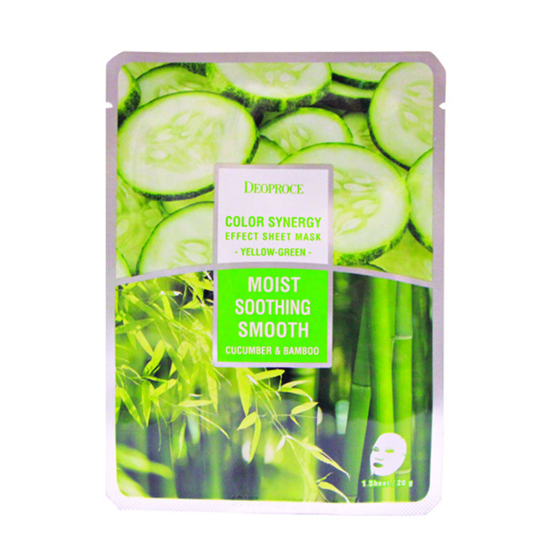 DEOPROCE Color Synergy Effect Sheet Mask - Yellow-Green (Cucumber & Bamboo)