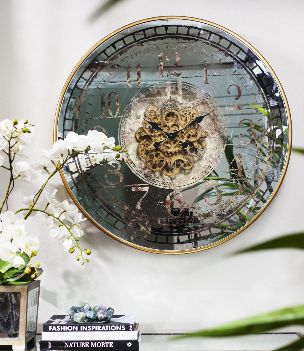 LARGE ROUND MIRROR WALL CLOCK WITH MOVING 3D MECHANISM Philbee Interiors