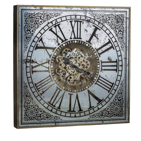LARGE SQUARE MIRROR WALL CLOCK WITH MOVING 3D MECHANISM Philbee Interiors