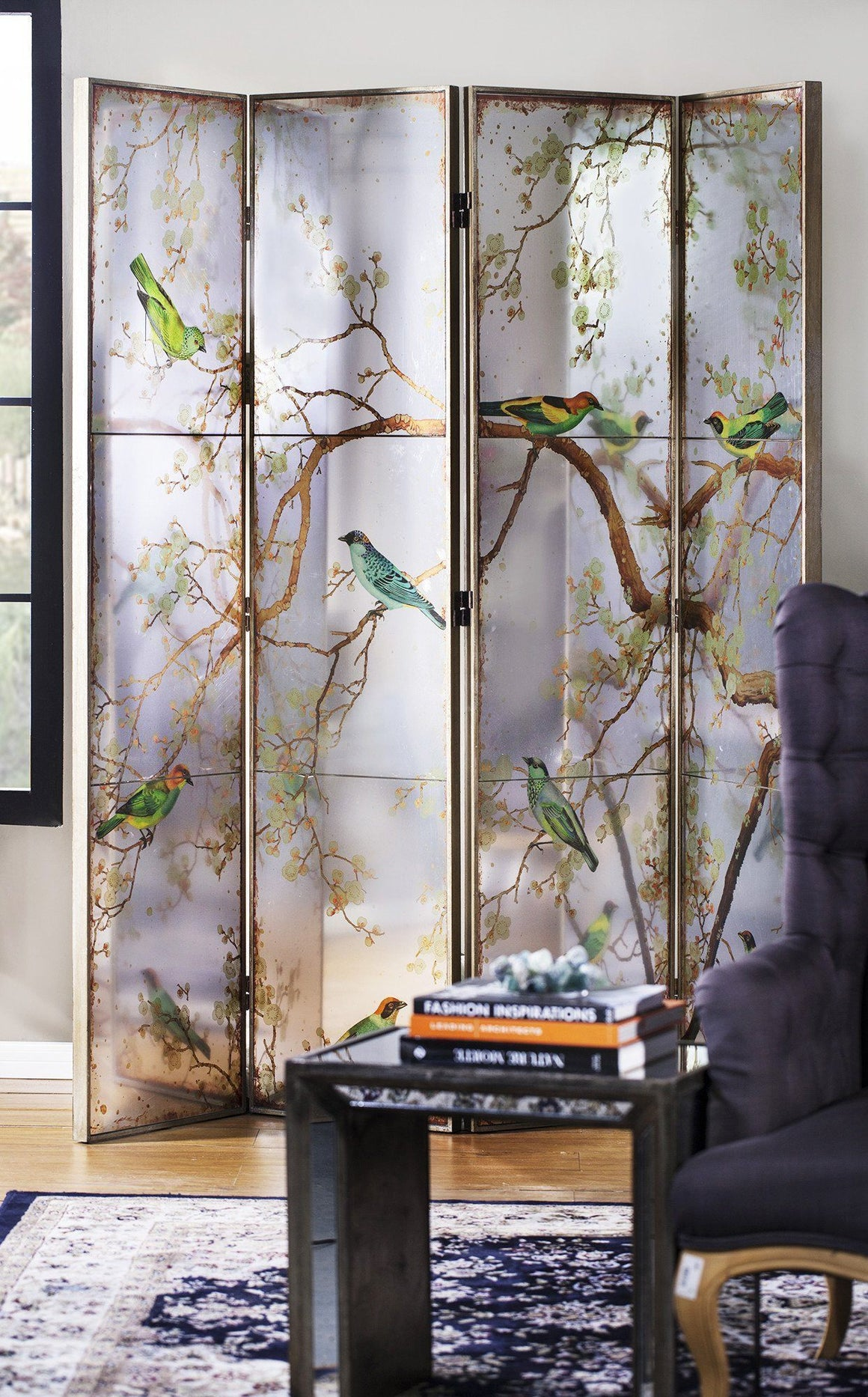 EXOTIC MELODIES MIRROR BIRD DRESSING SCREEN/ROOM DIVIDER Philbee Interiors