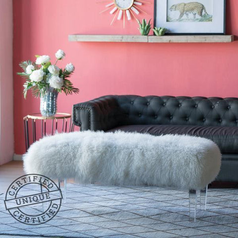 MONGOLIAN FUR BENCH (FLUFF BENCH) Philbee Interiors