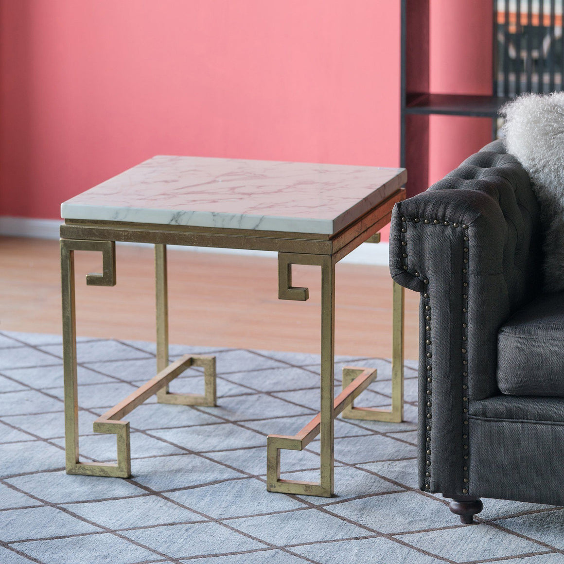 MARBLE SIDE TABLE GOLD (CLEOPATRA) Philbee Interiors