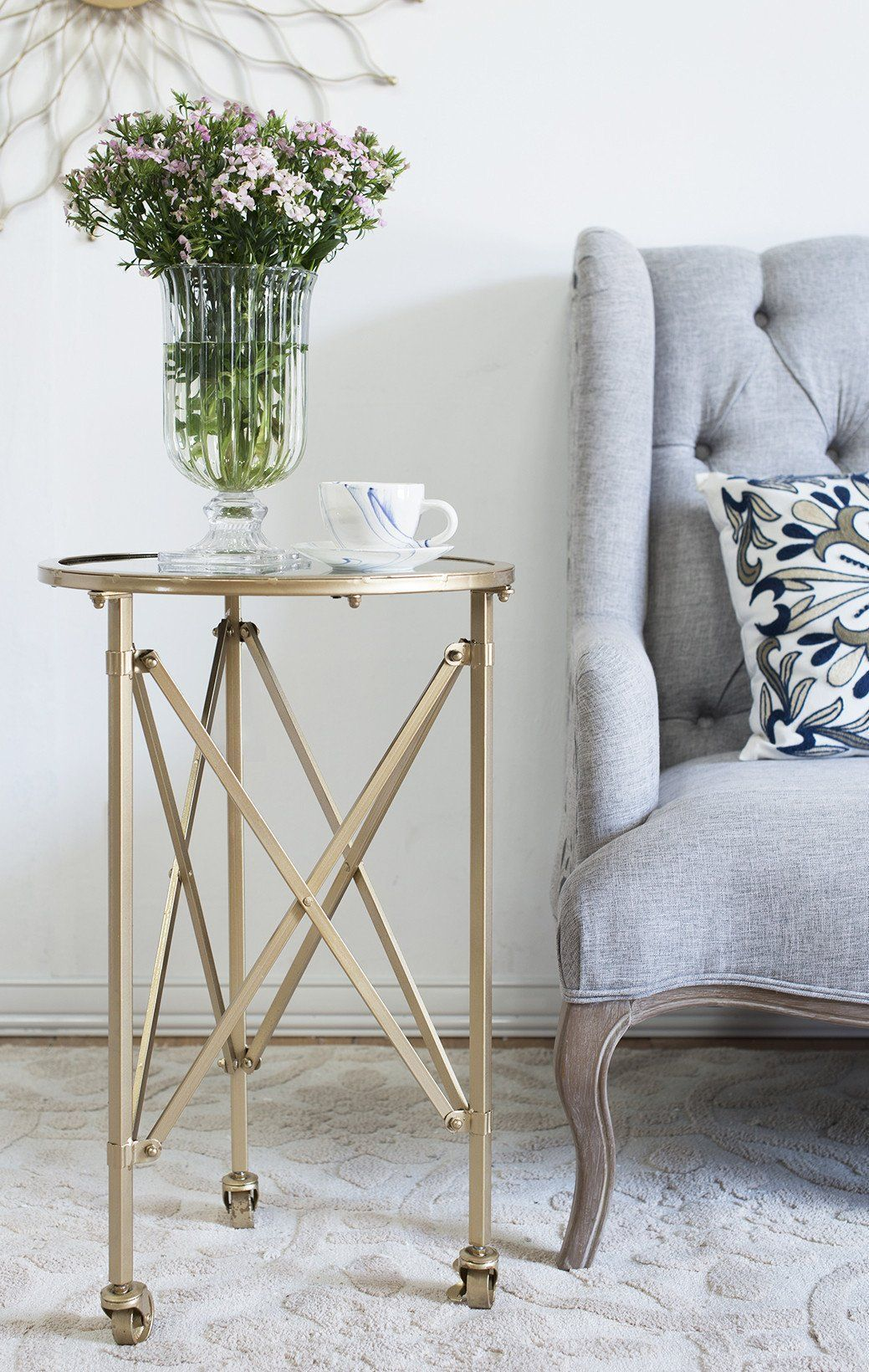 TENNYSON SIDE TABLE ON WHEELS WITH MIRROR TOP Philbee Interiors