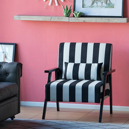 SCANDI STYLE BLACK AND WHITE STRIPED ARMCHAIR (SVEN ARMCHAIR ...