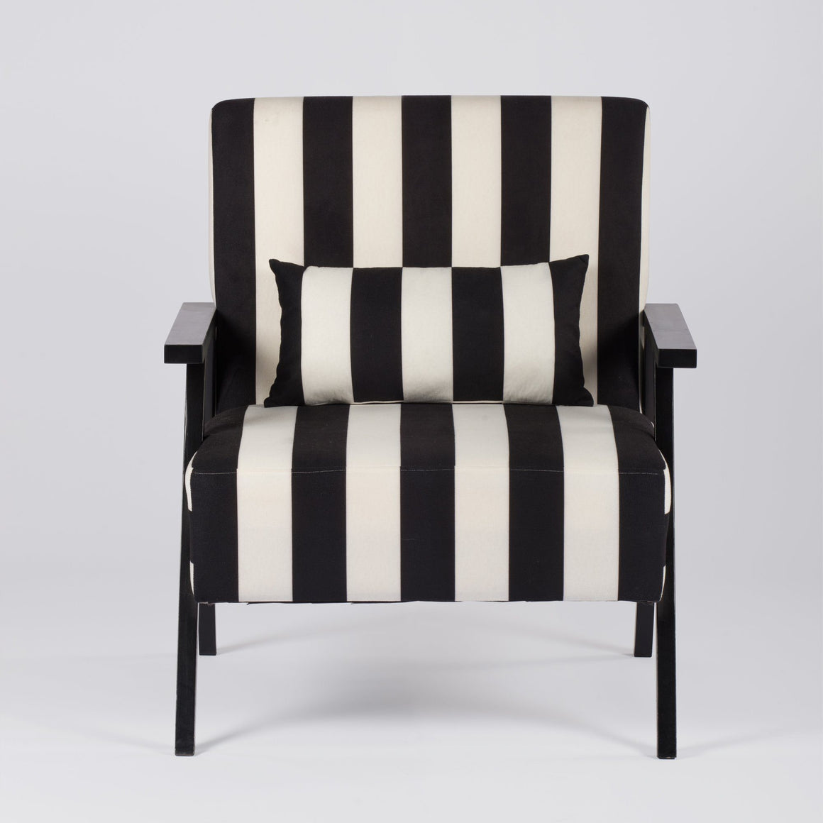 SCANDI STYLE BLACK AND WHITE STRIPED ARMCHAIR (SVEN ARMCHAIR) Philbee Interiors