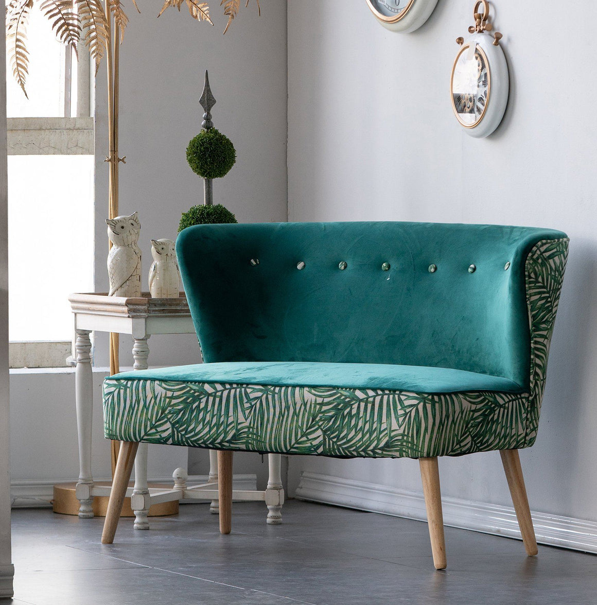 ARMLESS GREEN FERN CURVED SOFA Philbee Interiors