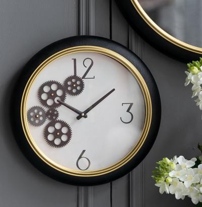 WHITE AND GOLD CLOCK Philbee Interiors