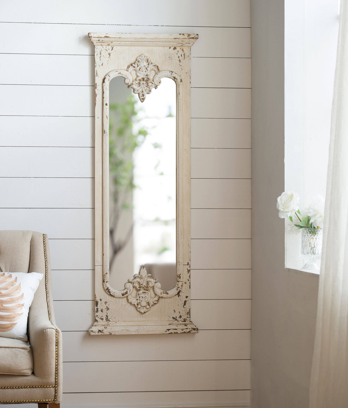 ORNATE WHITE WASHED MIRROR Philbee Interiors