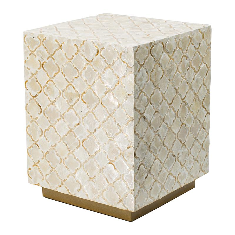 HAYMEN SQUARE SHELL CERAMIC SHELL STOOL/TABLE Philbee Interiors
