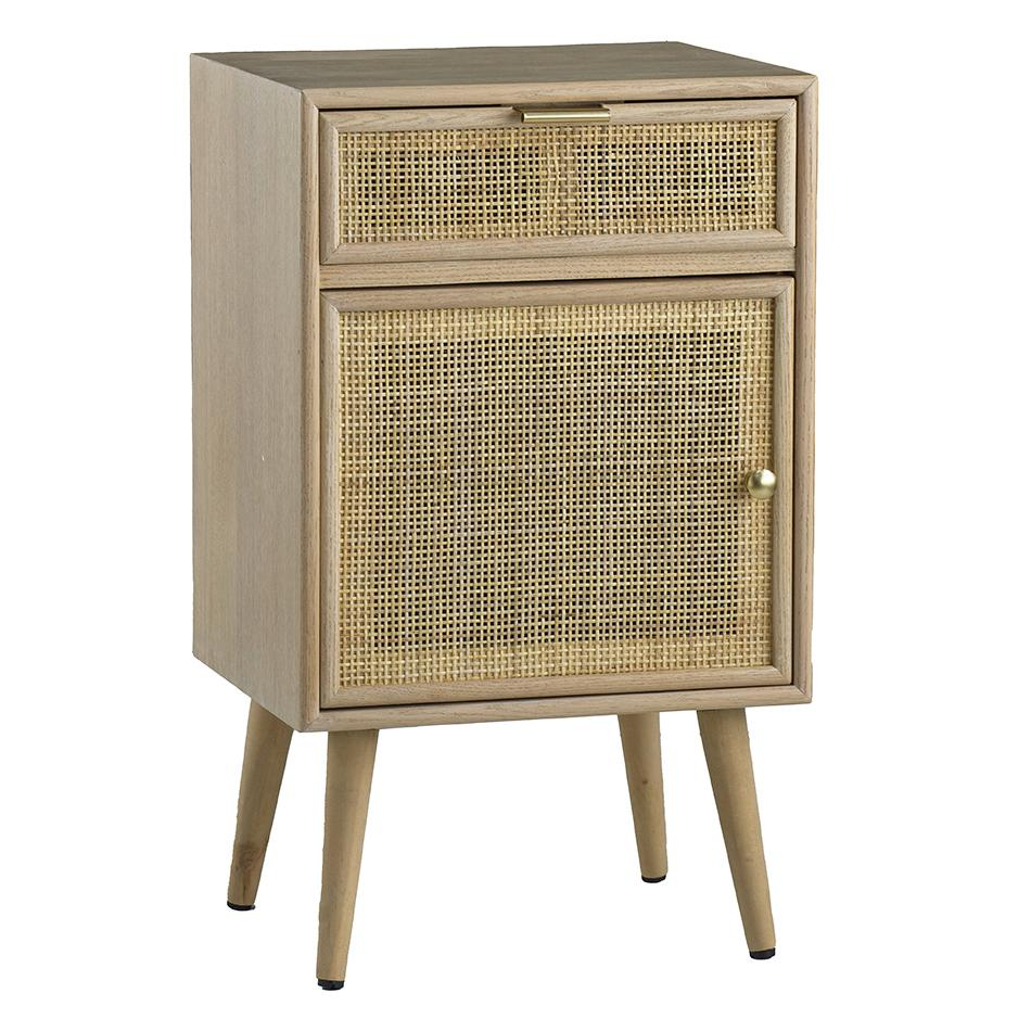 PINE AND RATTAN MINI CUPBOARD Philbee Interiors