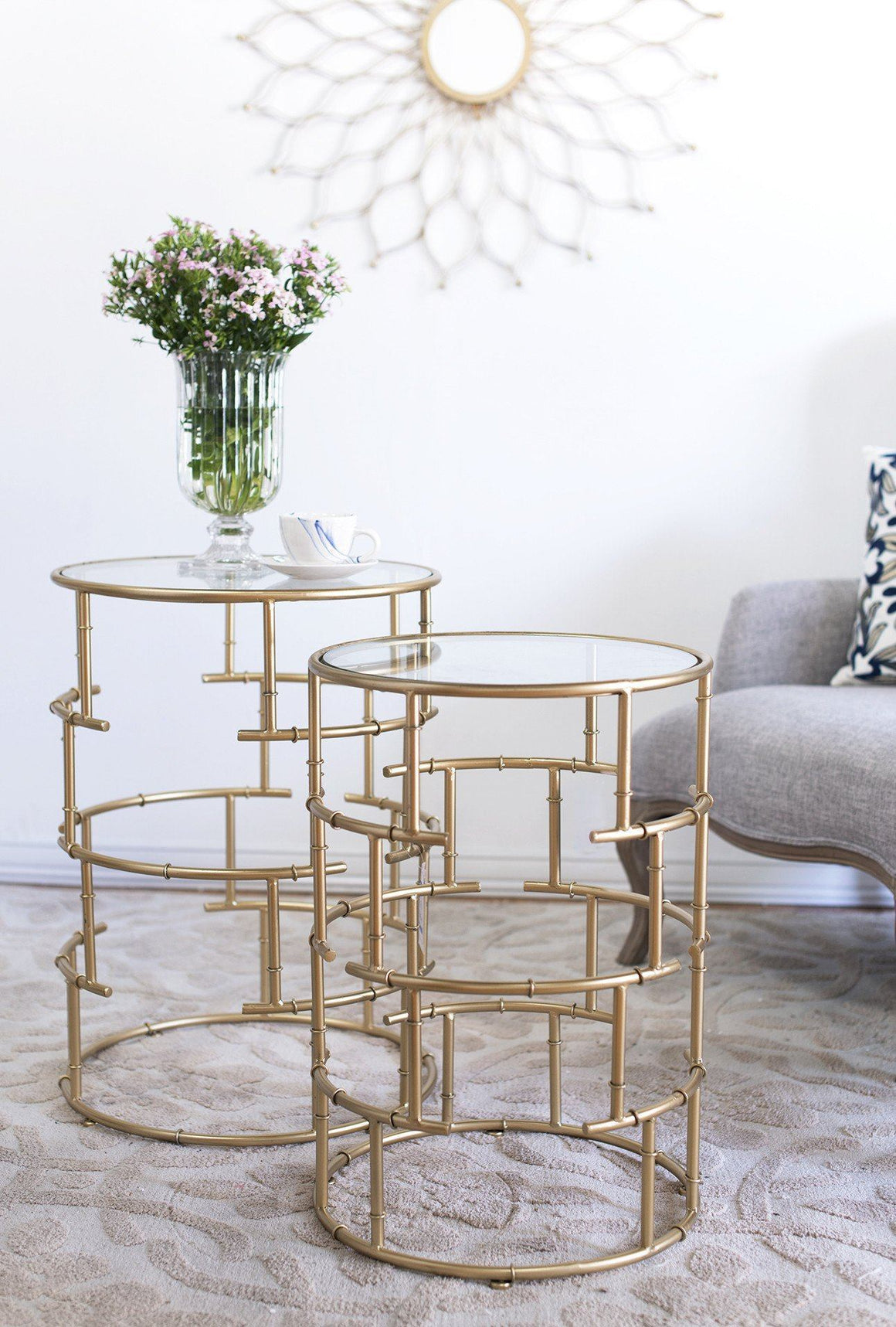 SET/2 METAL CYLINDER GOLD SIDE TABLES WITH GLASS TOP Philbee Interiors