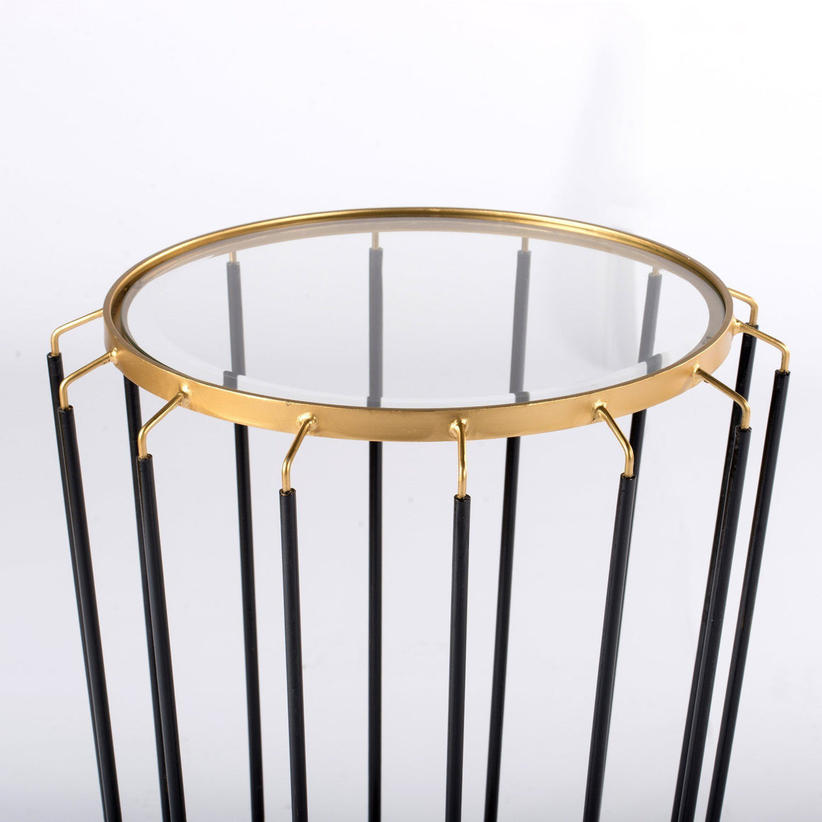 BLACK AND BRASS LOOK COMB SIDE TABLE (COMB SIDE TABLE) Philbee Interiors