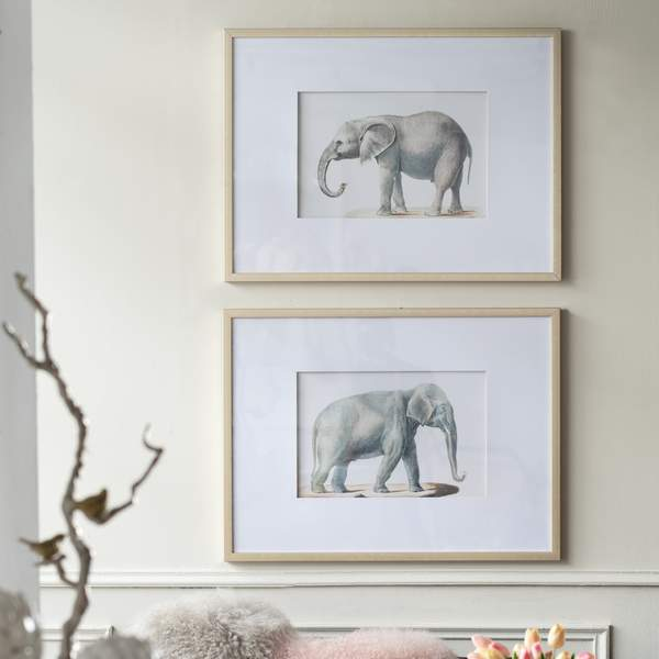 TRUNK AND EARS ELEPHANT WALL ART SET OF 2 Philbee Interiors