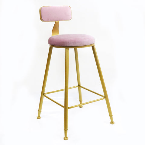 SLEEK BELL KITCHEN BENCH HEIGHT STOOL PINK Philbee Interiors