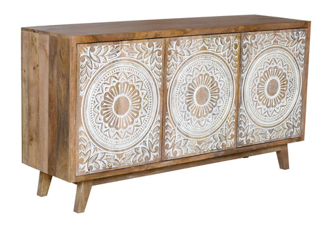 CARVED HAND-CRAFTED HARDWOOD FLORAL SIDEBOARD Philbee Interiors