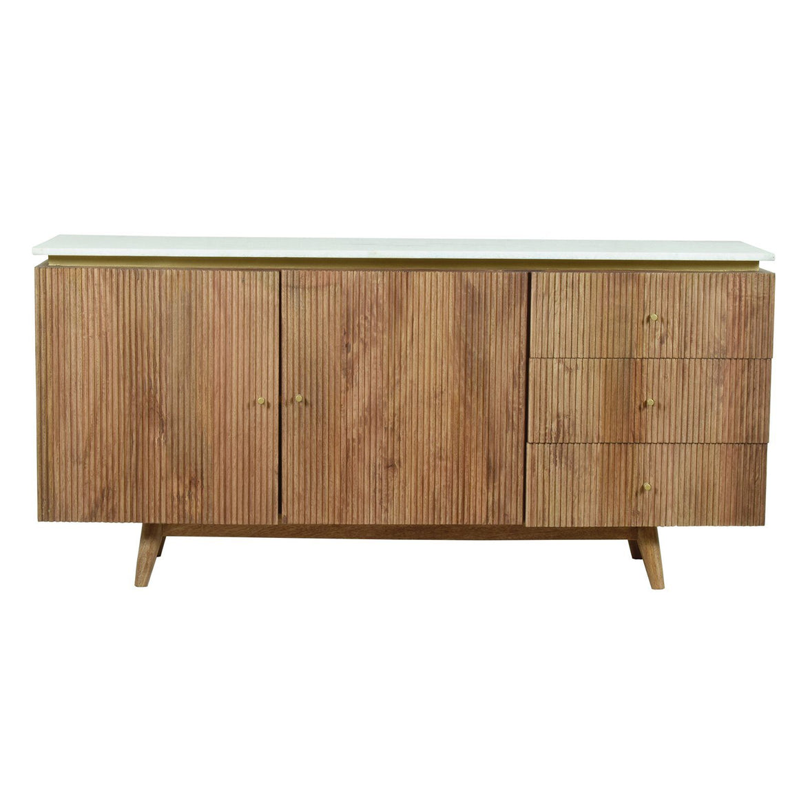 RIDGED SIDEBOARD WITH MARBLE TOP Philbee Interiors