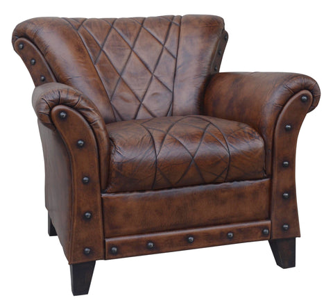 STUDDED LEATHER ARM CHAIR Philbee Interiors
