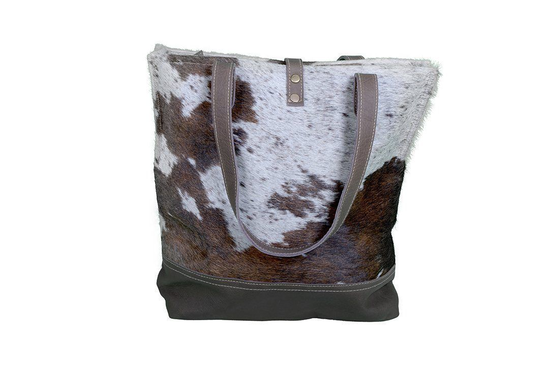 COWHIDE AND LEATHER TOTE BAG Philbee Interiors