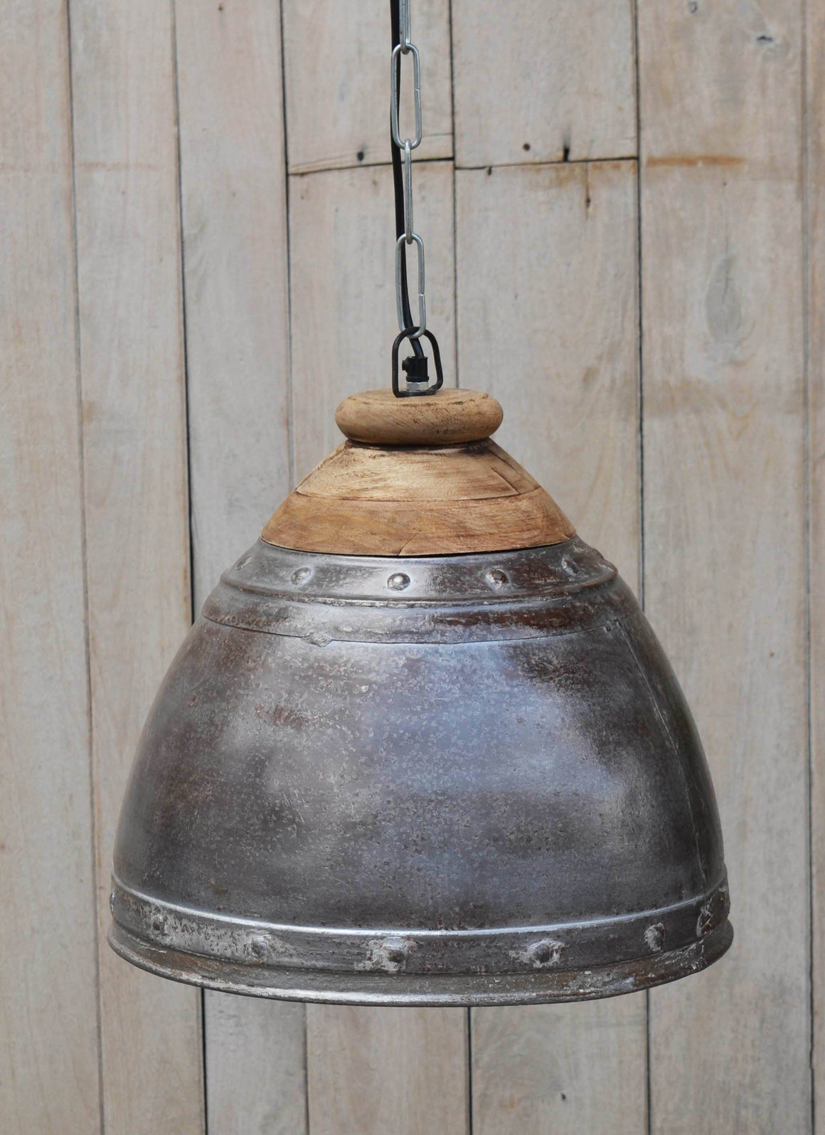 WASHED IRON AND WOOD LAMPSHADE Philbee Interiors