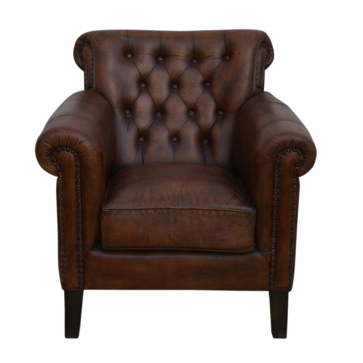 CHOCOLATE LEATHER ARMCHAIR Philbee Interiors