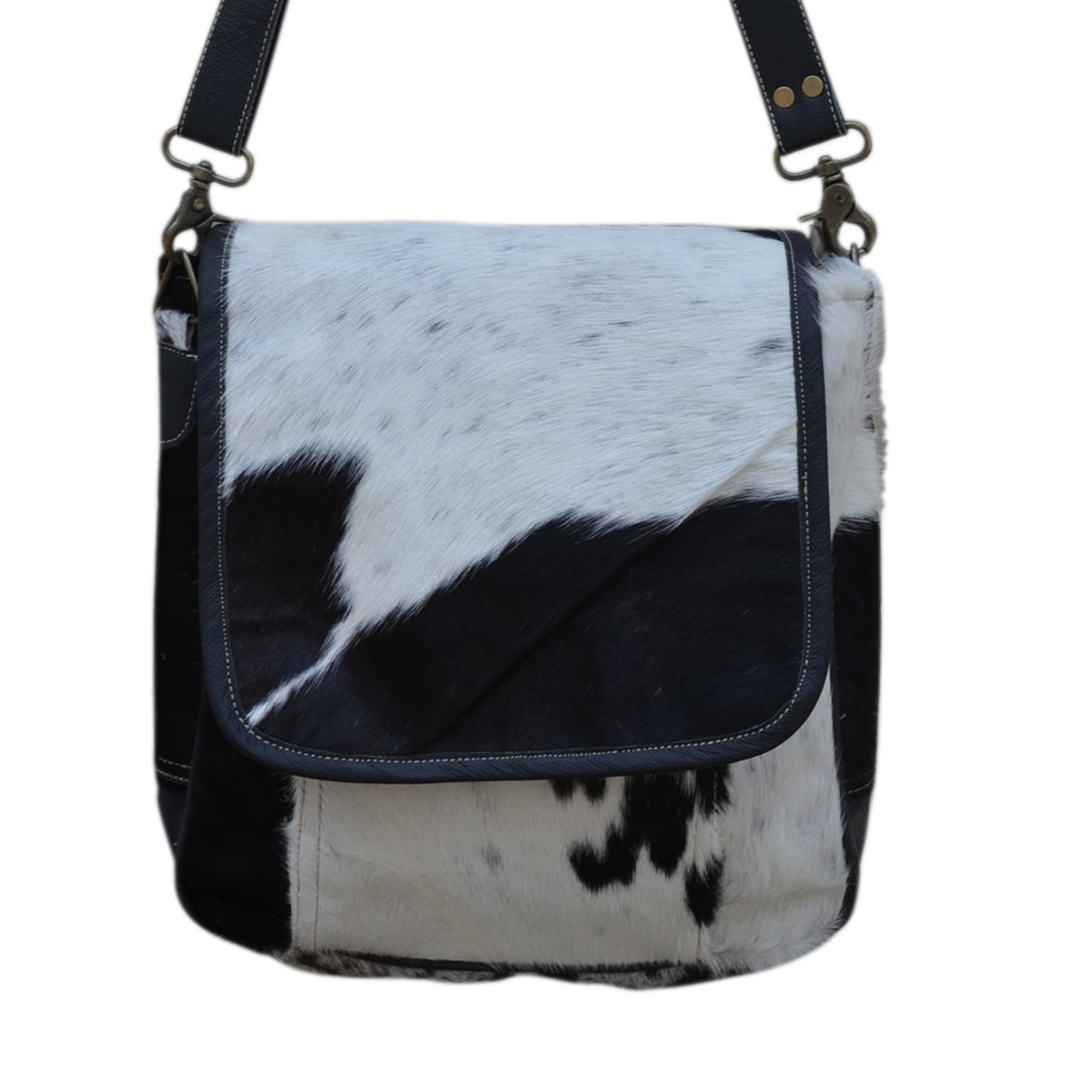 COWHIDE AND LEATHER SATCHEL Philbee Interiors