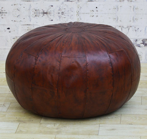 LARGE COFFEE LEATHER OTTOMAN Philbee Interiors