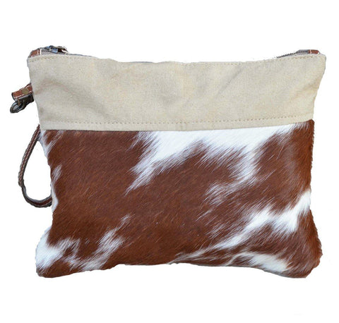 CAMEL COWHIDE ZIP CLUTCH BAG Philbee Interiors
