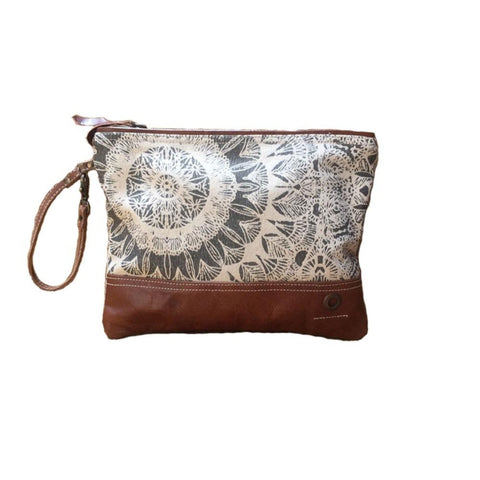 TAN CHEYENNE ZIP CLUTCH BAG Philbee Interiors