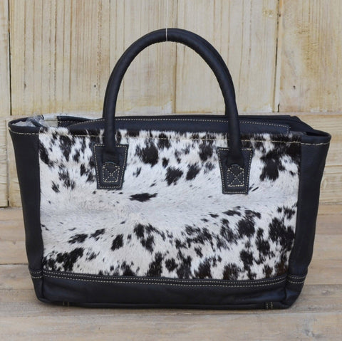 COWHIDE BORDERED HANDBAG Philbee Interiors